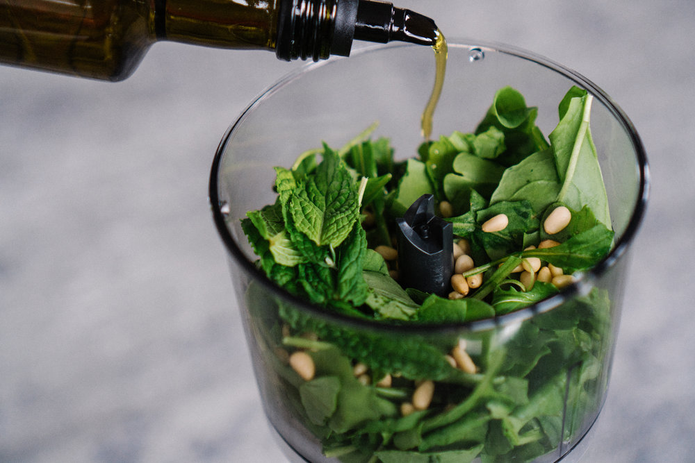 Add olive oil & blend until you reach desired consistency.