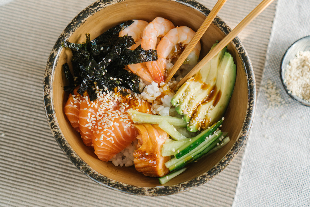 SALMON +PRAWN +AVOCADODONBURI -