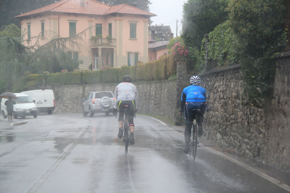 We do stupid things: riding to and up the Muro di Sormano in the cold rain, October 2015. Photo by Pez.