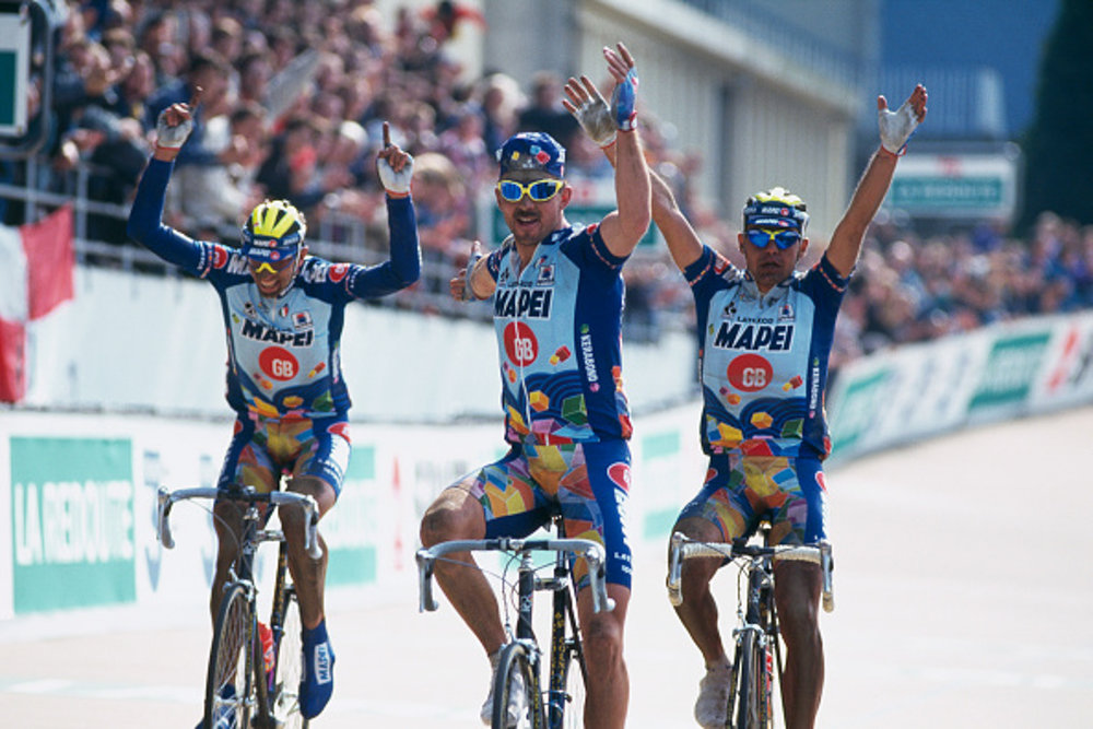 The legendary 1996 Paris-Roubaix with Mapei sweeping the podium: (l-r)  Andrea Tafi (Italy), Johan Museeuw (Belgium), Gianluca Bortolami (Italy)