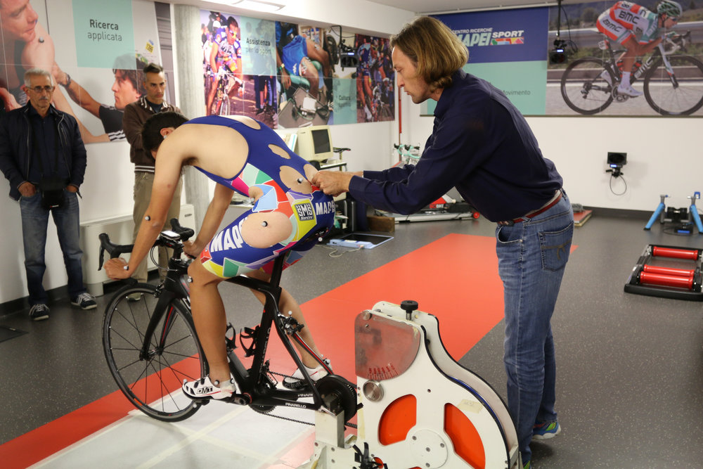 Bike fit assessment at Mapei Sports Center in Milan.