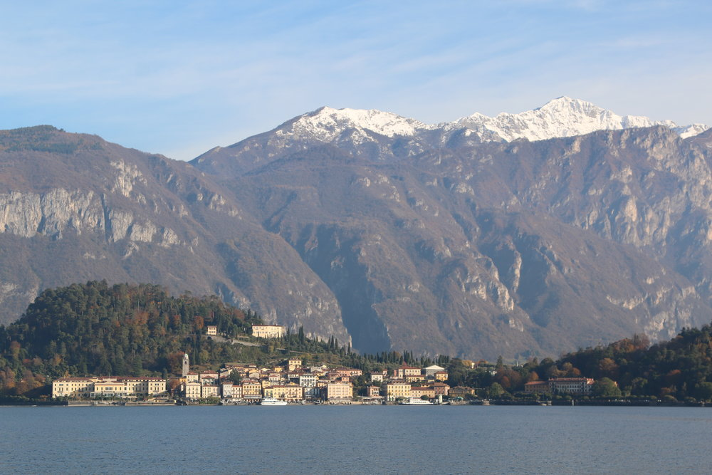 The small village of Bellagio with the Grigne mountains in the background