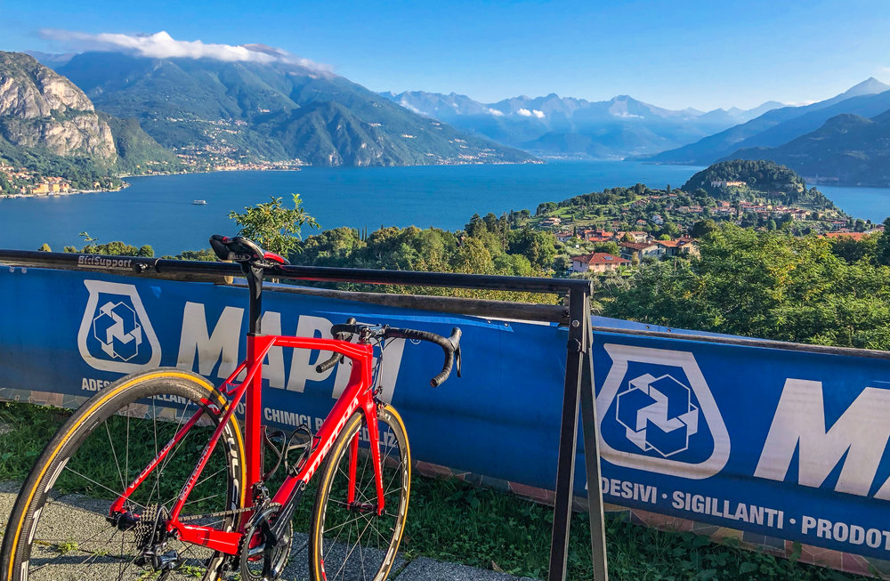 Your bike will be waiting for you each morning with this view right outside the door of ComoLagoBike and Hotel Il Perlo.