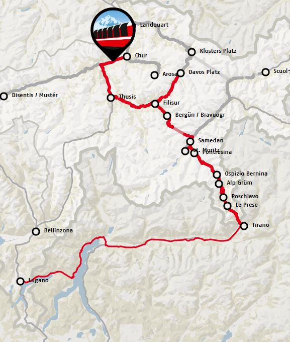 Route map for the Bernina Express. Click for larger version.