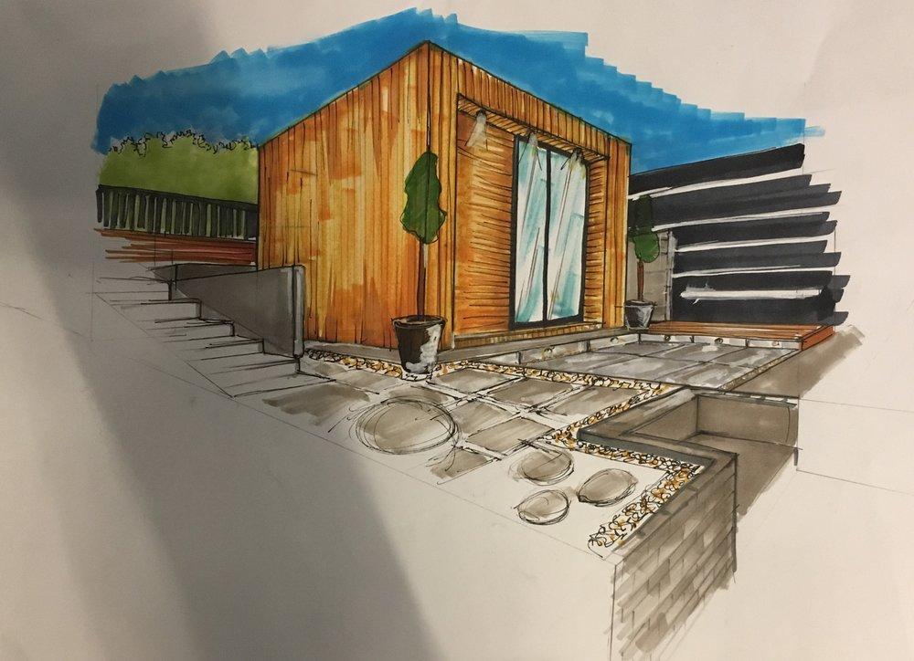 Client Sketch 2 - Garden Studio