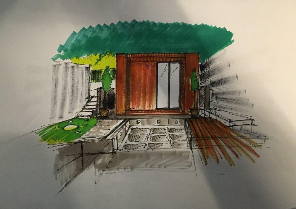 Client Sketch 1 - Garden Studio