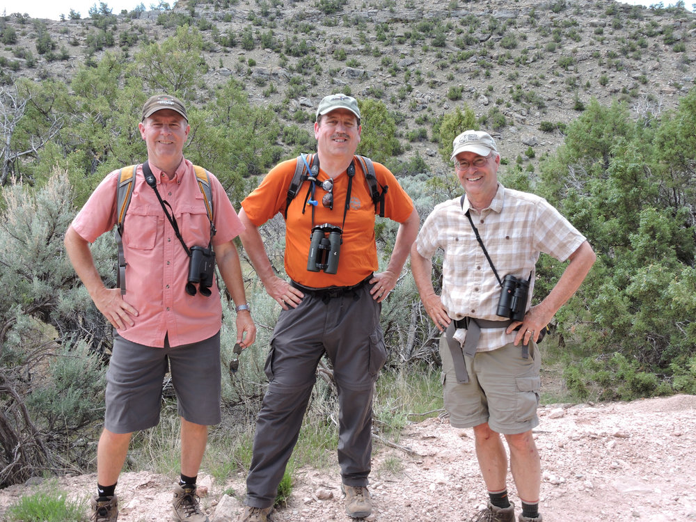 Jeff, Dan, and Paul birding in Bear Canyon, June 2015 (Ron Martin photo)