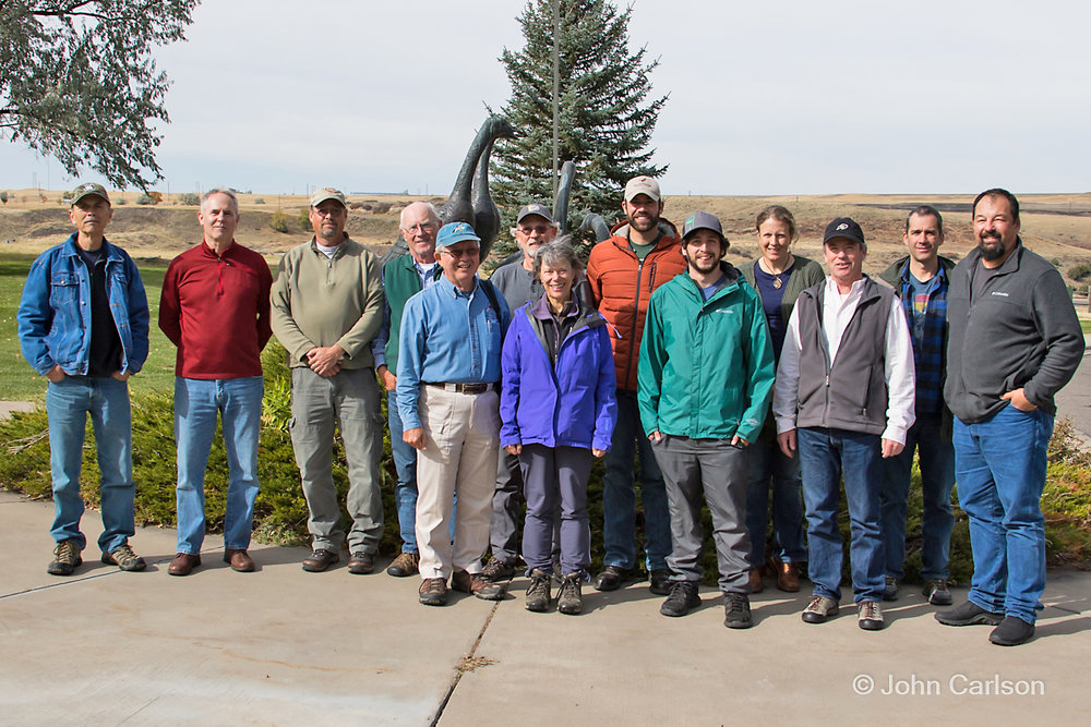 Annual meeting of the MRBC at Great Falls on 6 October 2017. Left to right: Ted Nordhagen, Jeff Marks, Nate Kohler, Bob Martinka, Ed Harper, Craig Hohenberger, Rose Leach, Forrest Rowland, Josh Covill, Kate Stone, John Parker, Coburn Currier, and John Carlson.