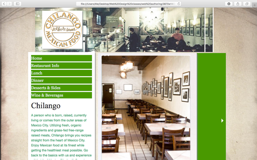 Chilango restaurant website redesign Finished
