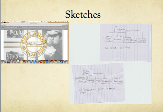 Sketches and wireframe for Chilango website redesign.