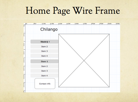 Home page wireframe for Chilango website resign.