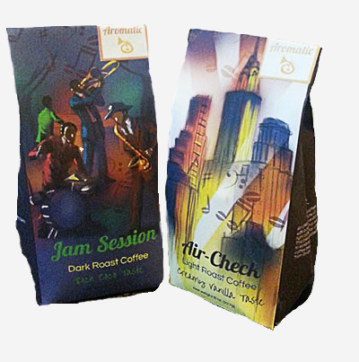 "Coffee packaging for a fictitious company ""Aromatic"". The theme for the packaging is For the Jazz era. The first package is named ""Jam Session and the second is named ""Air Check"""