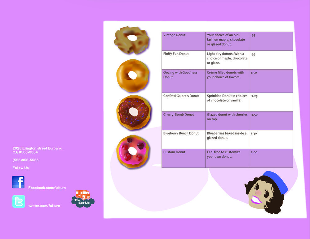 Other side of brochure for a fictitious Doughnut company.