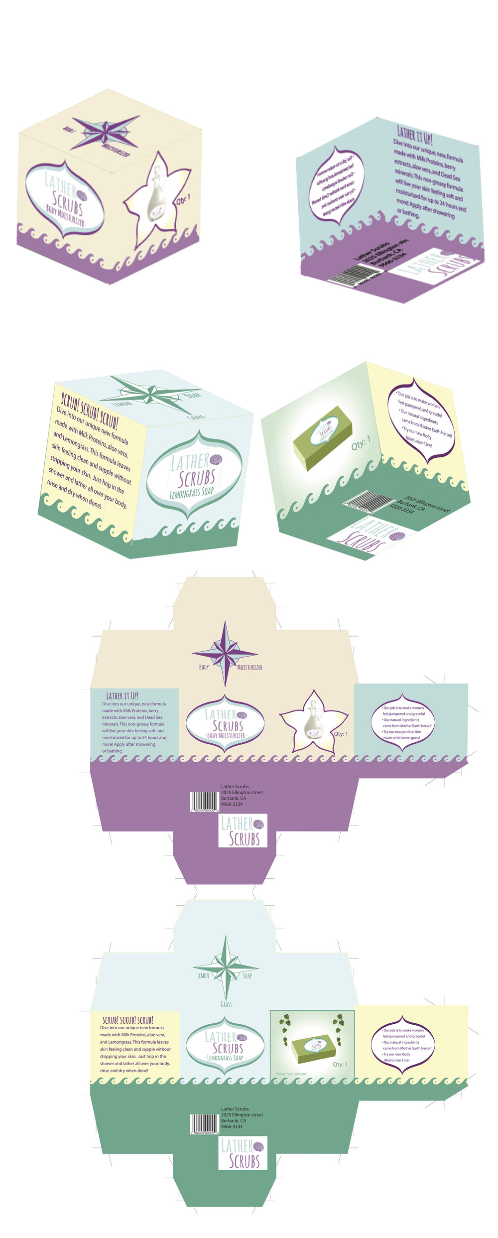 Packaging Design for a ficticious brand named Lather Scrubs. The purple box is for a body moisturizer, and the green is for lemongrass soap.
