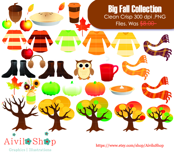 "This is a tag of my fall collection clipart, located in my etsy store ""Aiviloshop"""