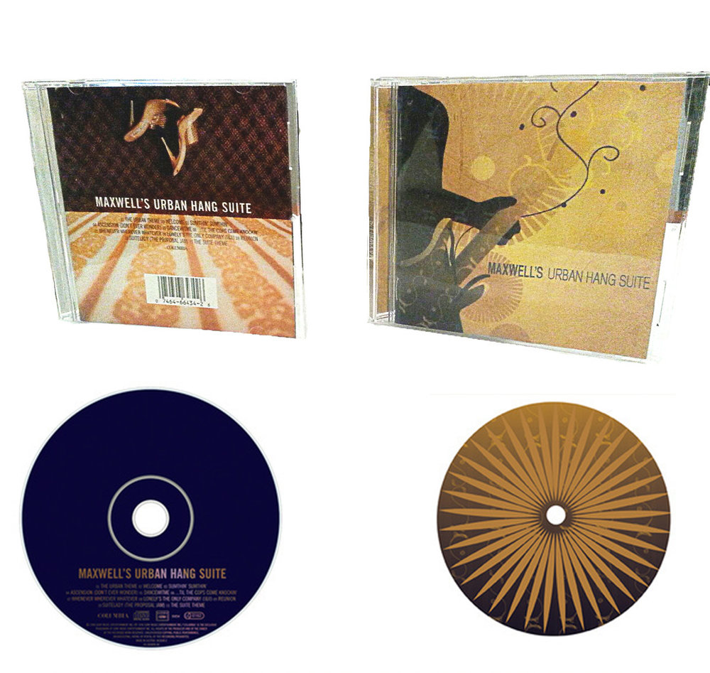 CD redesign of Maxwell's Urban Hang Suite. Shows before and after.