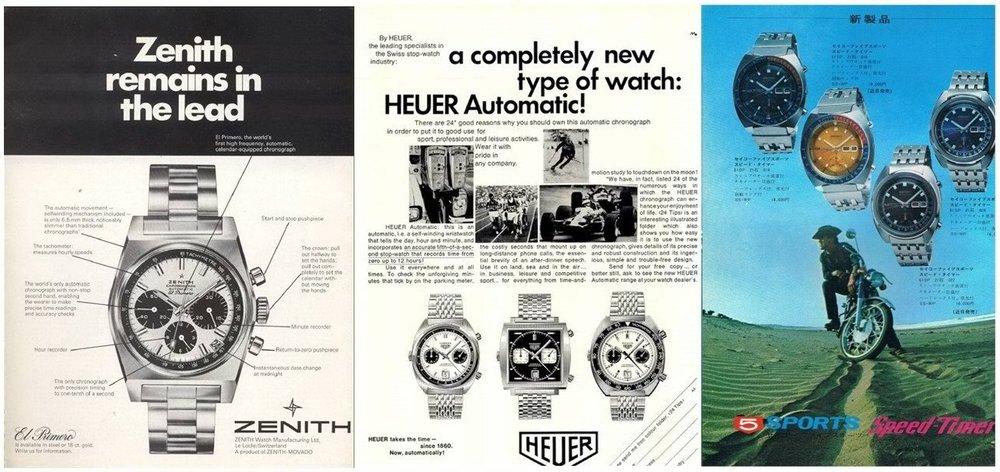 Anuncios de la época de los tres competidores por el primer cronógrafo automático.