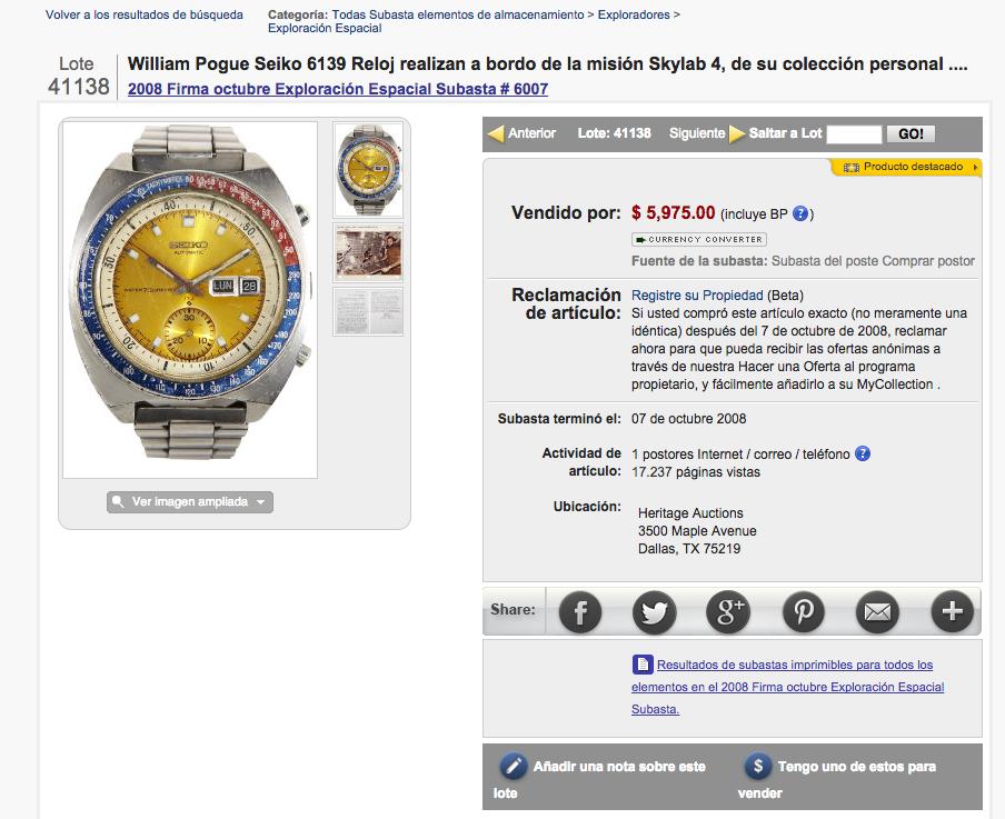 Anuncio original del reloj subastado en eBay el año 2008.