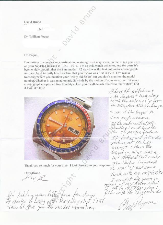 Carta de David Bruno al Coronel Pogue