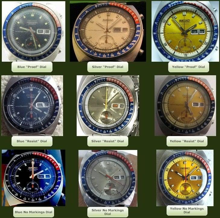 Seiko 6139 nine dial variations Andhora.jpg