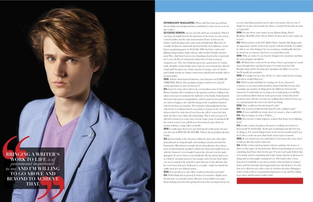 Hydrogen Magazine Editorial Eugene Simon Game of Thrones 3.jpg