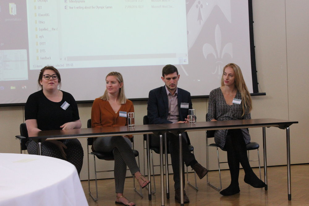 A panel of recently qualified teachers at a NaPTEC event