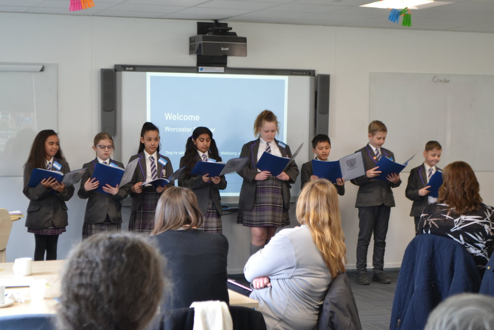 Children from  Hollymount School  (Worcestershire Education Award winner – Best Primary School 2016-17) presenting at the spring seminar explaining how they have been involved in school improvement and review.