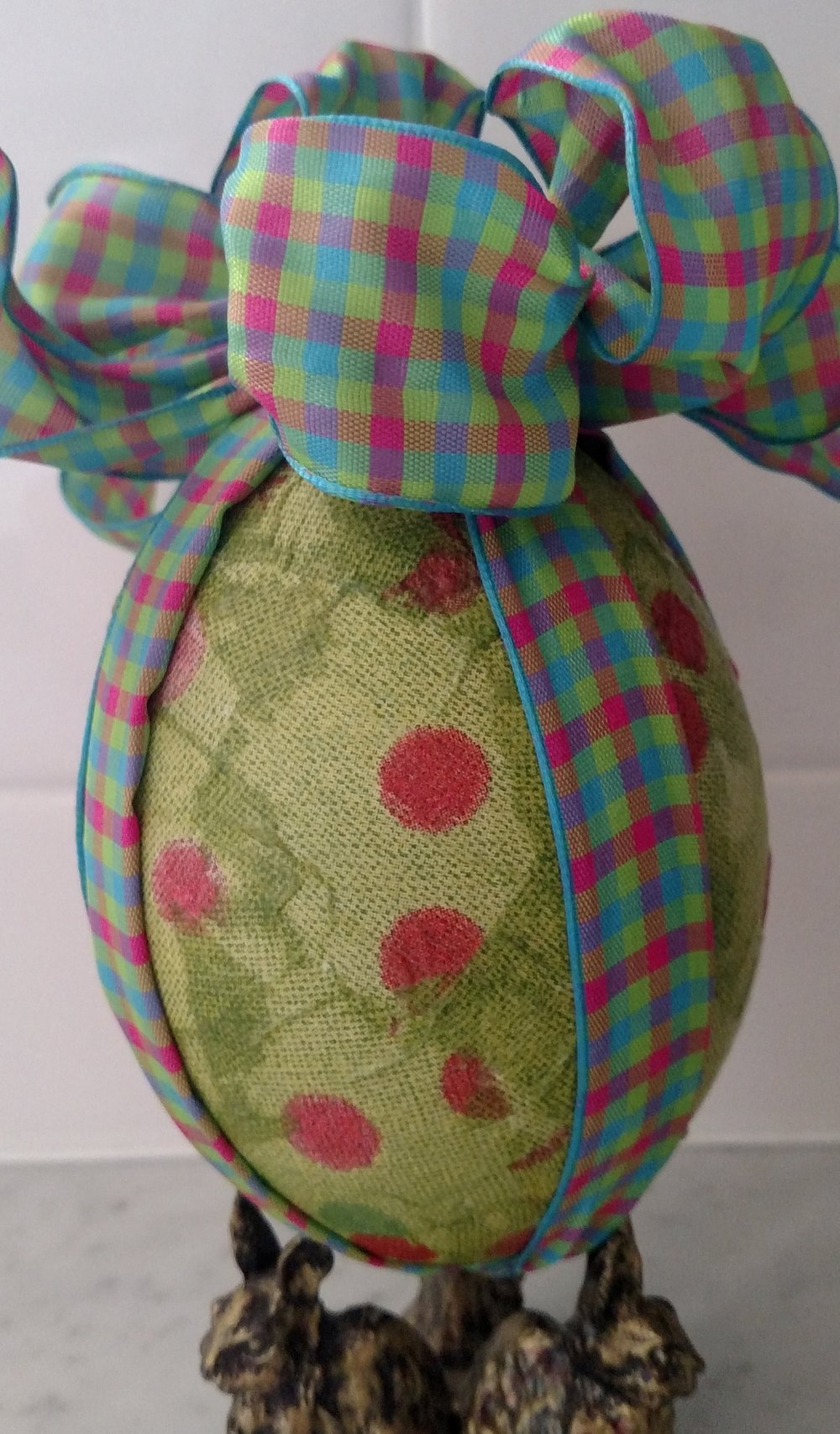 Green Decoupage Egg with Pink Polka Dots.jpg