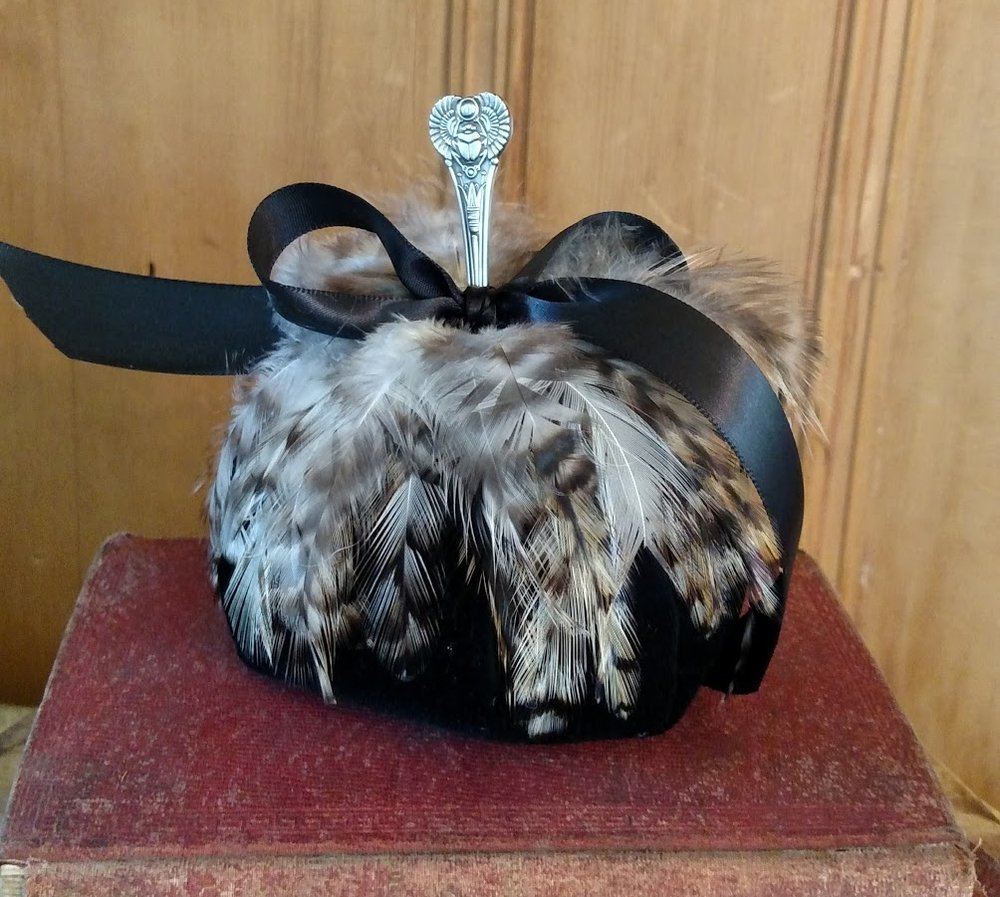 BLACK VELVET PUMPKIN WITH FEATHERS.jpg