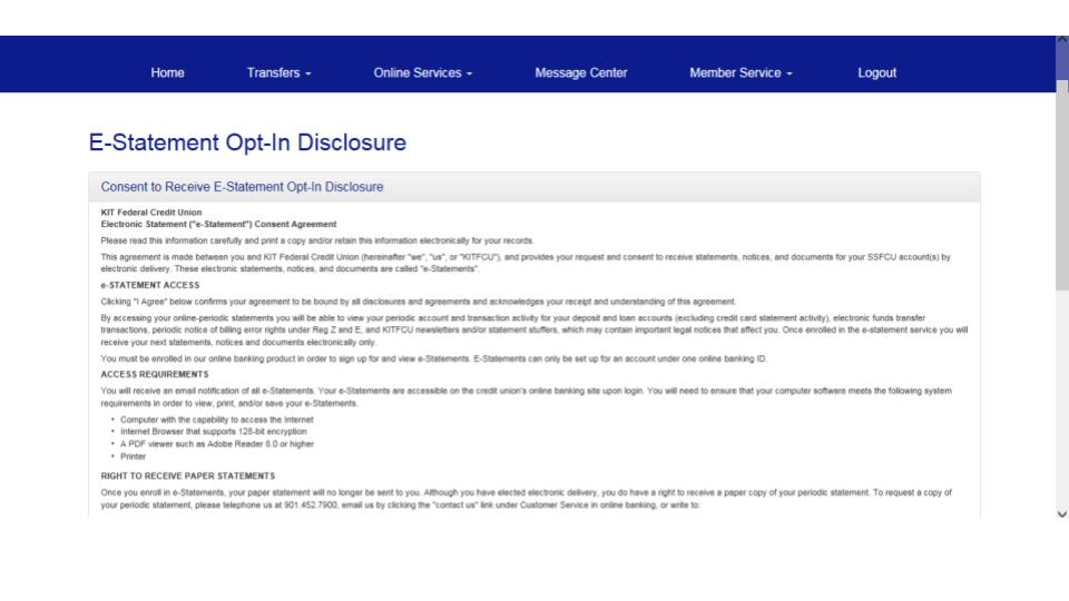 E Statement Opt-In Disclosure