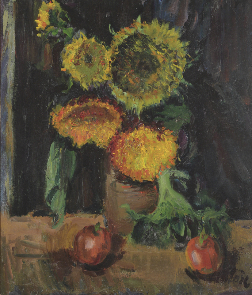 Sunflowers and Red Apples