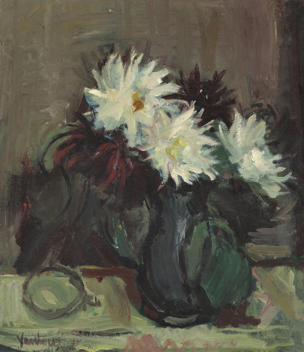 White and Burgundy Dahlias in Green Vase