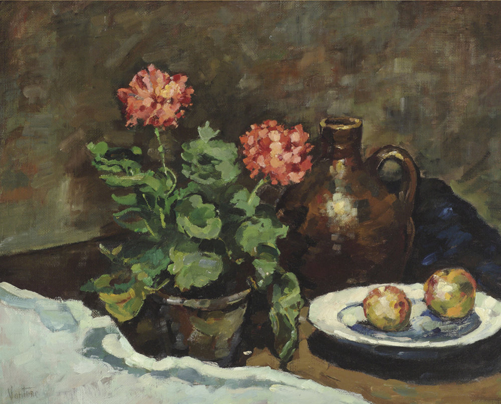Geraniums with Delft Plate
