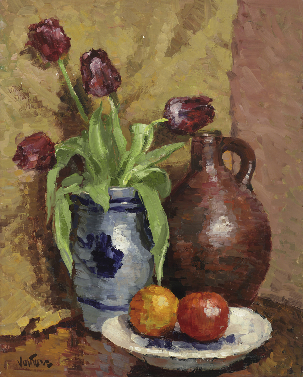 Tulips in Pot with Fruit