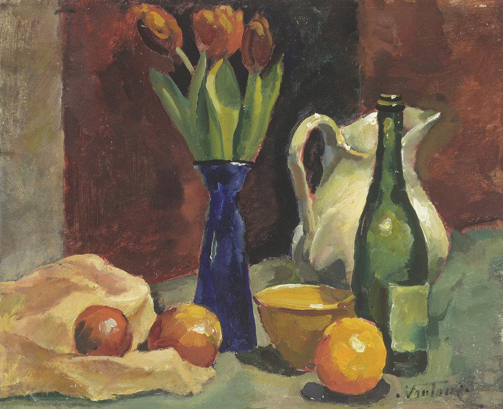 Tulips in a Blue Vase, Bottle, Jug and Oranges