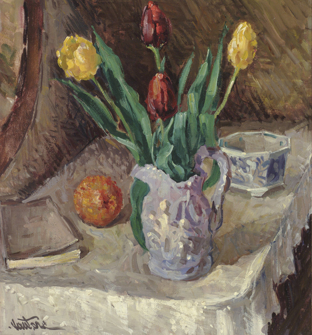 Tulips, Orange and Book