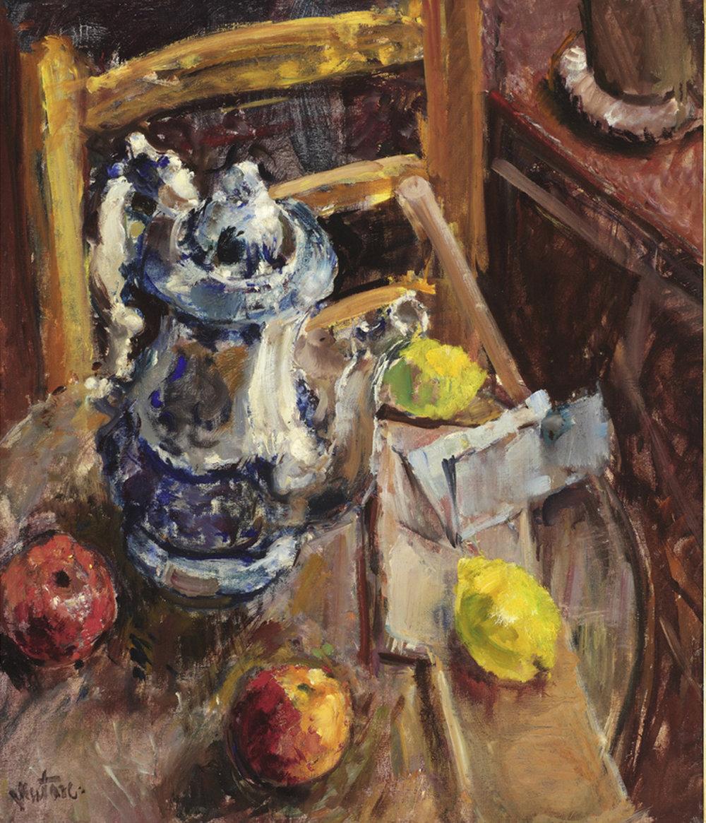 Lemon, Apples and Blue Coffee Pot