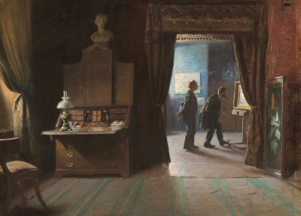Michael Therkildsen (Danish 1850-1925), 'Critic In The Artist's Studio'