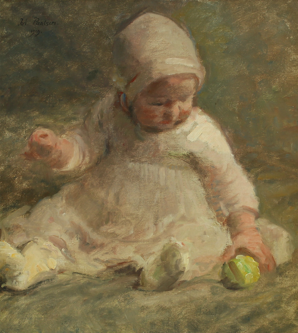 Julius Paulsen (Danish 1860-1940) 'A Little Girl Is Playing With a Green Apple'