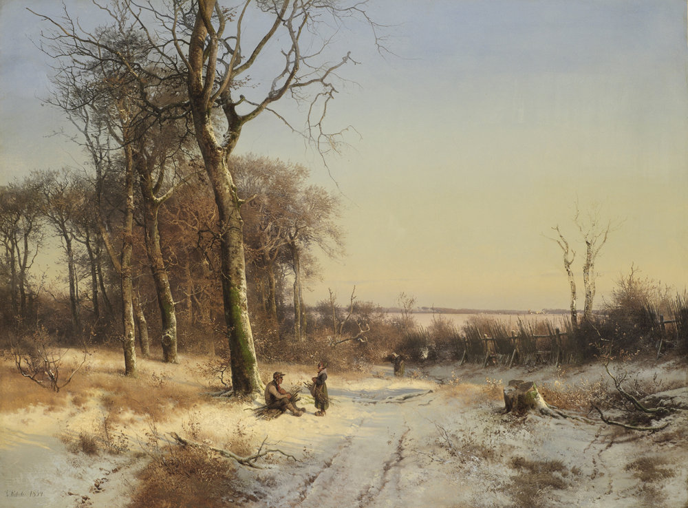 Frederik Rohde (Danish 1816-1886) 'Wintery Forest with a Family'