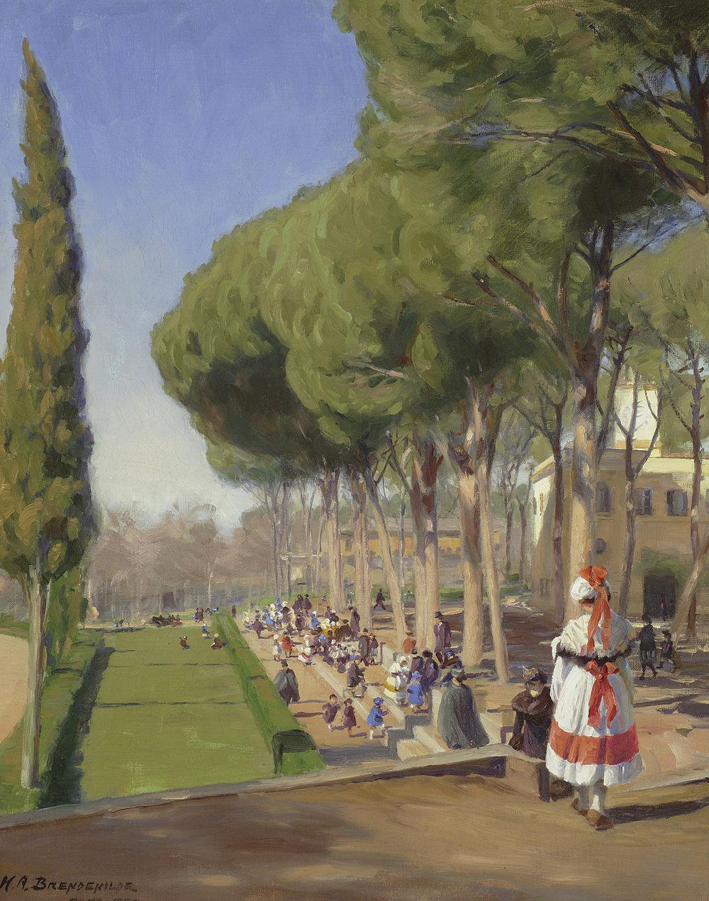 Hans Andersen Brendekilde (Danish 1857-1942) 'Summer Day, Villa Borghese, Rome'