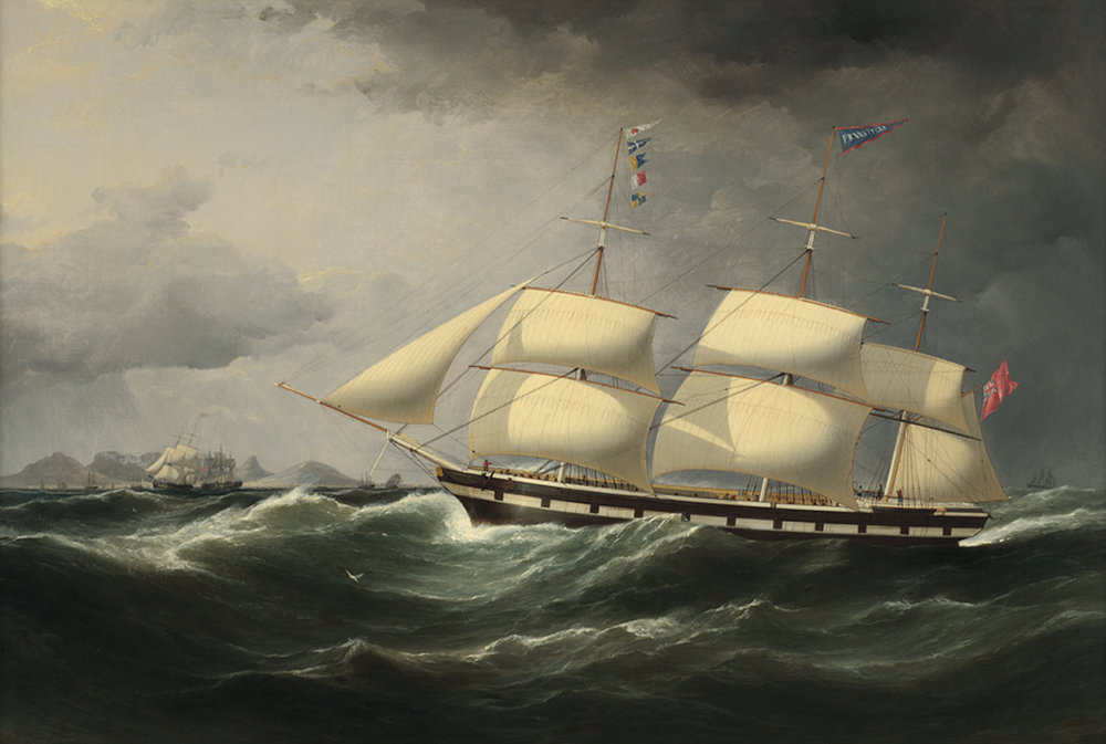 Samuel Walters (British 1811-1882) 'The Frankfield 'Showing her Number' in Rough Seas off Table Bay, Cape Town'