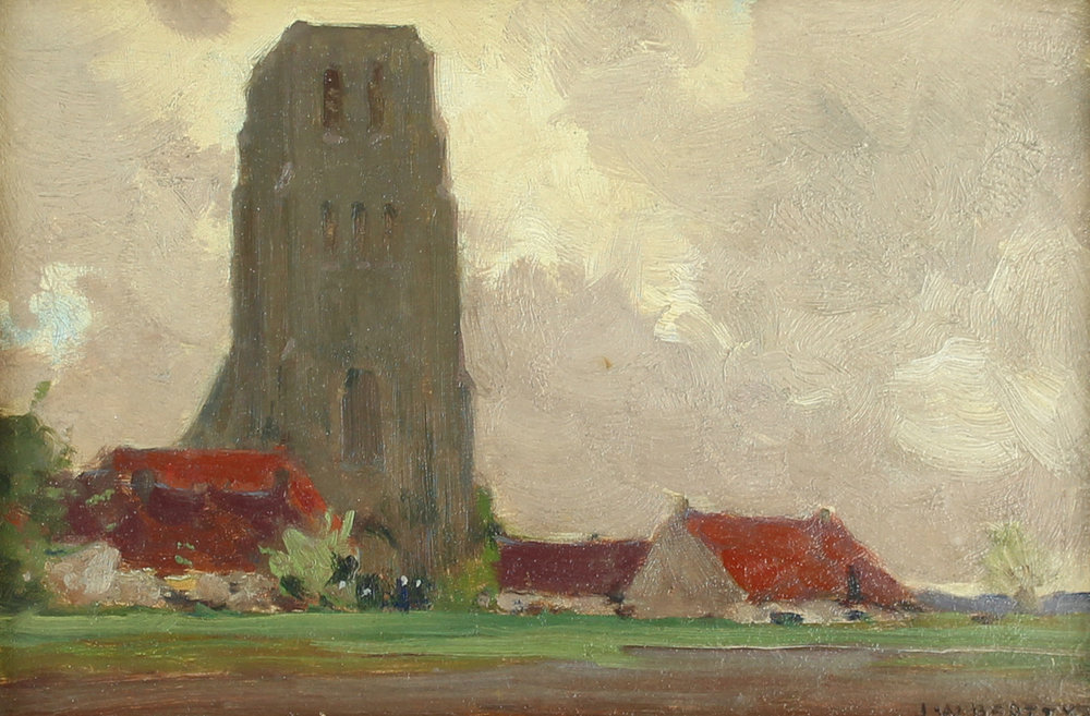 John William Beatty, Rca, Osa (Canadian 1869-1941) 'Cathedral in Flanders, Onze-Lieve-Vrouwekerk, In Lissewege'