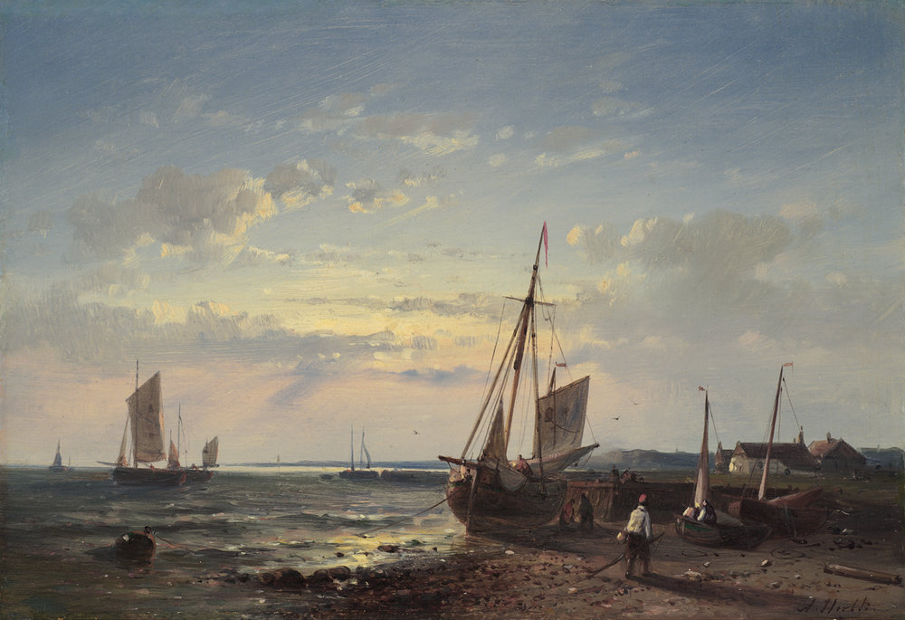 Abraham Hulk (Dutch 1813-1897) 'Shipping at Sunset'