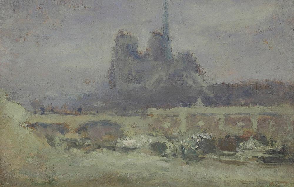 Albert Lebourg (French 1849-1928) 'Notre Dame De Paris et Le Pont De L'archeveche'