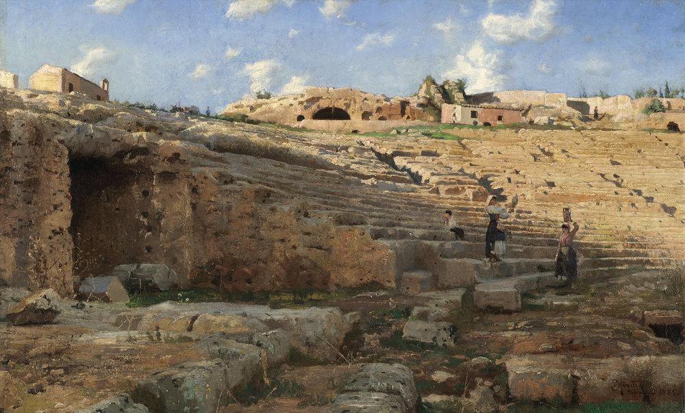 Peder Monsted (Danish 1859-1941) 'Syracuse Amphitheater'