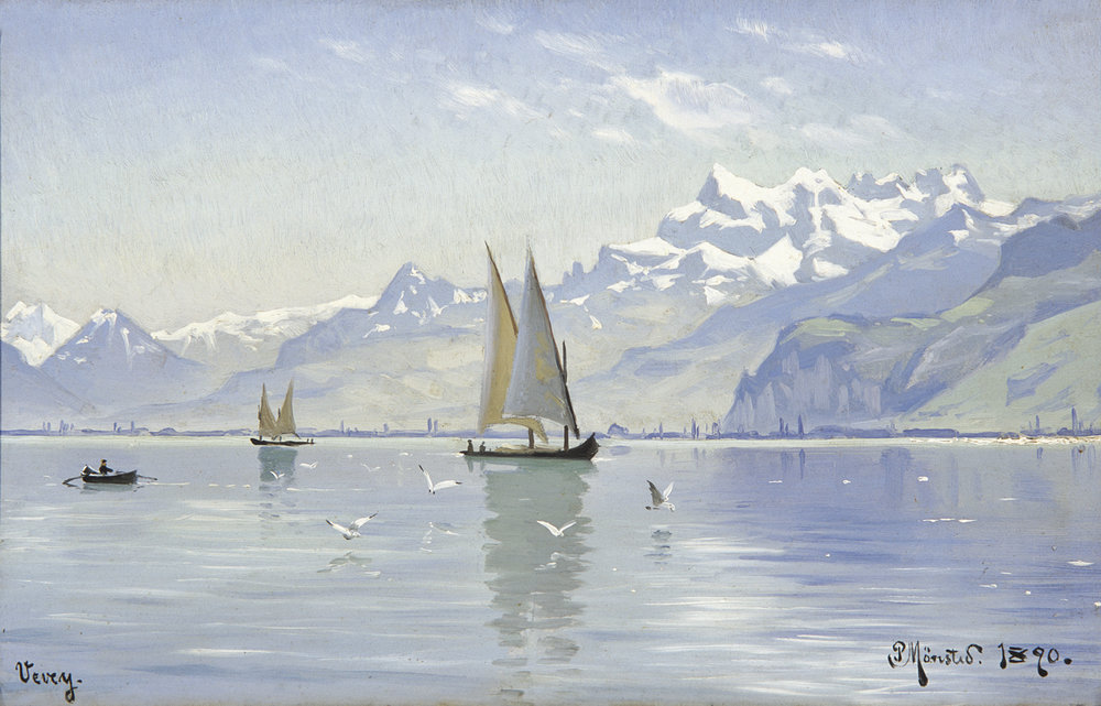 Peder M. Monsted (Danish 1859-1941) 'View of Lake, Vevey'