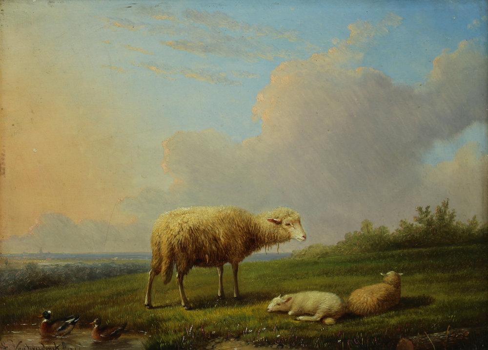 Francois van Severdonck (Belgian 1809-1889) Sheep in Landscape