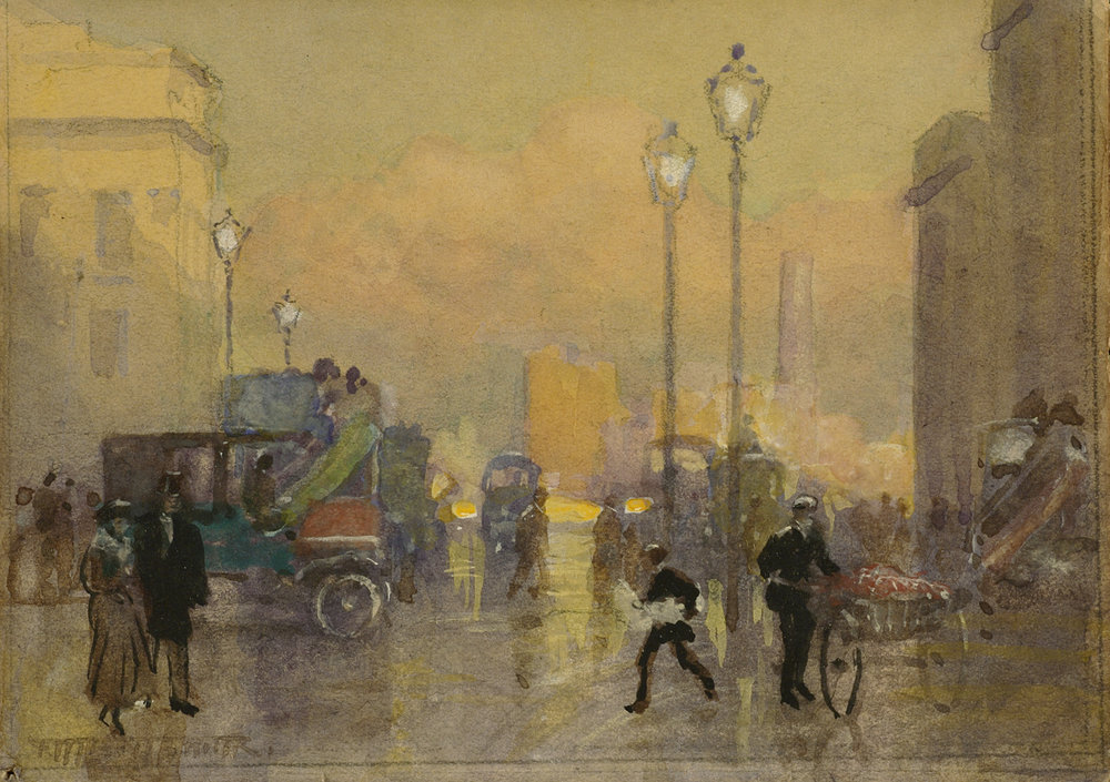 Frederic Marlett Bell-Smith (Canadian 1846-1923) 'London Street Scene'