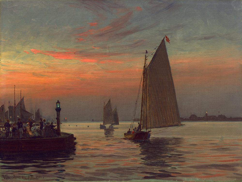 Vilhelm Arnesen (Danish 1865-1948) 'Midtermolen (Middle Pier)'